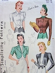 1940 SIMPLICITY PATTERN 3366 BOLEROS FOUR STYLISH VERSIONS