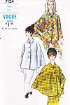 1960s MOD Cape Coat Jacket Pattern VOGUE 7124 Two Style Versions Classic EMMA PEEL Design Size Small Vintage Sewing Pattern UNCUT