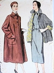 1950 Flare Back Coat or Topper Jacket Pattern Simplicity 3342 Lovely Wide Cuffs Bust 35 Vintage Sewing Pattern