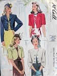 1940s BOLERO SHORTIE JACKETS PATTERN 4 LOVELY STYLES WAR TIME WW II McCALL 4720
