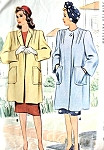1940s  War Time WW II BOXY COAT Pattern McCall  4723 Two Style Versions So Film Noir Bust 40 Vintage Sewing Pattern FACTORY FOLDED