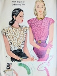1940s FILM NOIR STYLE BLOUSE PATTERN With SEQUIN or EMBROIDERY TRIM TRANSFER LOVELY DESIGN McCALL 1192 Bust 30