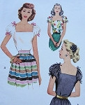 1940s McCALL 7062 BLOUSE PATTERN PRETTY PUFF SLEEVES, VERY DEEP SQUARE NECKLINE, LOVELY PEASANT STYLE