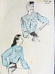 1940s PRETTY BLOUSE PATTERN 2 SLEEVE, NECKLINE VERSIONS ADVANCE 4448