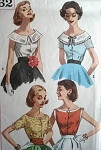1950s BLOUSE PATTERN SCOOP NECKLINES SIMPLICITY 2062