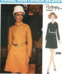 FAB Mod Uncut Vintage 1960s Vogue Couturier Design 2239 Designer Pertegaz Two Piece Dress, Over-Blouse and A-line Skirt Sewing Pattern Size 10