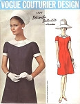 Stylish Mod 1960s Dress Pattern Vogue Couturier 1777 Belinda Bellville Bust 38  A Line Contrast Yoke Shift Dress Vintage Sewing Pattern UNCUT