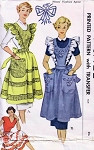 1950s PRETTY  PINAFORE APRON PATTERN FULL BIB or HALF APRON STYLES PLUS EMBROIDERY TRANSFER McCALL 1532