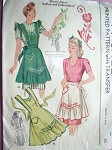 1940s War Time WWII  Apron Pattern McCALL 1124 Three Lovely Styles Half and Full Bib Vintage Sewing Pattern Bust 36-38