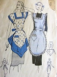 1940s PRETTY APRON PATTERN 2 VERSIONS,   FULL BIB STYLES BUTTERICK 4230
