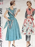 1950 PINAFORE APRON PATTERN 2 PRETTY STYLES SIMPLICITY 3422