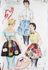 1950s One Yard APRON PATTERN McCALLS 1878 Cute Three Styles Half Aprons Hostess or Every Day Kitchen Styles with Transfers Clamp On or Tie Back  One Size Vintage Sewing Pattern