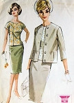 1960s CLASSY SLIM 3 PC SUIT PATTERN McCALLS 6840 PENCIL SLIM SKIRT OVERBLOUSE BOXY JACKET MAD MEN STYLE