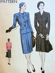 1940s SUIT PATTERN FITTED JACKET, SLIM SKIRT FRONT INVERTED PLEAT, CLASSY DESIGN VOGUE PATTERNS 5139