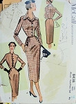 1950s PENCIL SLIM SUIT PATTERN FITTED SHORT JACKET, SLIM SKIRT McCALL 8438