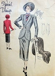 1940s SUIT PATTERN LOVELY LONGER JACKET CUTAWAY FRONT, PENCIL SLIM SKIRT VOGUE SPECIAL DESIGN SEWING PATTERNS 4778