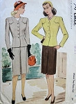 1940s WAR TIME SUIT PATTERN FRONT INVERTED PLEAT SKIRT, FITTED JACKET LOVELY SHOULDER DETAILS McCALL PATTERNS 5951