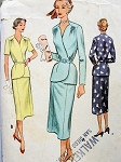 1950s LOVELY  SUIT PATTERN  DRAPED SHOULDERS, SURPLICE FRONT FITTED JACKET, SLIM SKIRT McCALL PATTERNS 8322