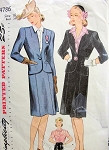 RESERVED1940s WAR TIME 3 PC SUIT PATTERN PRETTY BLOUSE, FITTED JACKET, STRAIGHT SKIRT SIMPLICITY PATTERNS 4786