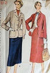 1950s  SLIM SKIRTED SUIT PATTERN FITTED JACKET BLAZER SIMPLICITY PATTERNS 4563