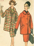 1960s SLIM WALKING SUIT PATTERN 3/4 LENGTH JACKET COAT, SLIM SKIRT SIMPLICITY 3622