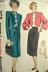 1940s ELEGANT SUIT PATTERN SIDE WRAP SKIRT, BOLERO JACKET, BLOUSE  SIMPLICITY 1861