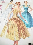 1950s SIMPLICITY 1153 BEAUTIFUL EVENING PARTY COCKTAIL DRESS PATTERN FIGURE MOLDING LONG LINE BODICE, FULL SKIRT 3 STYLE VERSIONS