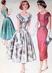 1950s McCALLS 4172 Cocktail Dress Pattern Beautiful Bodice Slim or Full Skirt  Party Special Occassion Bust 36