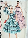 1950s MIDRIFF PARTY EVENING DRESS, JACKET PATTERN STRAPLESS GOWN LOVELY DESIGN SIMPLICITY  4982