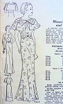 1930s BEAUTIFUL SLIM EVENING GOWN , PLEATED CAPE WRAP PATTERN  SQ NECKLINE, PLUNGING BACK VERSION, PLEATED FLOUNCE STUNNING DESIGN