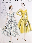 1950s  Beautiful Princess Cocktail Evening Party Dress Pattern VOGUE 8614 Figure Flattering Design Bust 32 Vintage Sewing Pattern