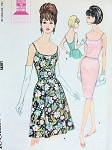 1960s SLIM or FLARED COCKTAIL DRESS PATTERN LOW NECKLINE, BACK McCALLS 7762