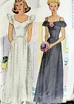 1940s OFF SHOULDERS EVENING GOWN PATTERN 2 LOVELY DRESS  STYLES  McCALL 5959