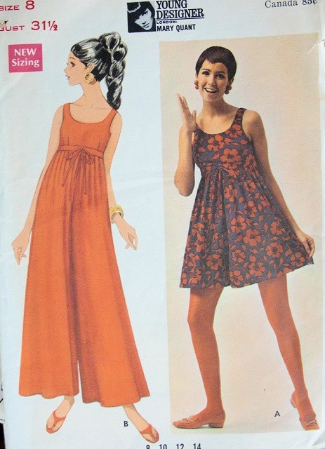 9cc4b466d47ec 1960s MOD MARY QUANT PANTDRESS PATTERN CULOTTES EMPIRE STYLE, MINI or  EVENING LENGTH BUTTERICK YOUNG DESIGNERS 4779