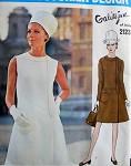 1960s VOGUE Couturier Design 2123 Vintage Sewing Pattern GALITZINE Dress Pattern Low Waist,  Elegant Side Closing Bust 36 Vintage Sixties Couture Sewing Pattern