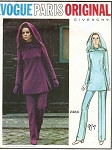 1970s VOGUE PARIS ORIGINAL 2484 GIVENCHY Tunic, Pants and Hood Pattern Space Age Mod Style Bust 34 Vintage Sewing Pattern UNCUT + Label