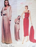 1980 CHRISTIAN DIOR ONE SHOULDER EVENING DRESS, COAT, BELT PATTERN VOGUE PARIS ORIGINAL 2127