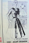 1950s Spadea American Designer Dress Pattern 1089  Alan Graham Flattering Seam Shaped Bodice Full Multi Gore Skirt,Cuffs Collar and Dickey Detachable For Low Neckline