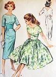 1950s McCALLS 4530 DRESS PATTERN SLIM or FULL SKIRTED MIDRIFF INTEREST V BACK GORGEOUS DESIGN Bust 30 Vintage Sewing Pattern