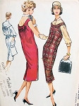 1950s McCalls 4599 Chemise Dress or Jumper Pattern Classy Slim Style with Peter Pan Collar Blouse