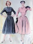 1950s Butterick Pattern 6292 Lovely Full Swirling Skirt Dress Nip in Waist Surplice Neckline Bust 30 Vintage Sewing Pattern