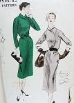 1950s Vogue Pattern 7736 Slim Dress Flattering Curved Overlap Bodice Detachable Collar Cuffs