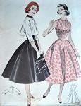 1950s Butterick Pattern 7243 Perky Bolero Topped Princess Dress Flattering Sunburst Neckline Peter Pan Collar Bust 34 FACTORY FOLDED