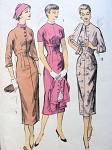 1950s EMPIRE SHEATH DRESS, CROPPED JACKET PATTERN FIGURE SHOW OFF STYLE ADVANCE 8045