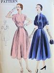 1950s DRESS PATTERN DOUBLE INVERTED PLEATS, SLIT NECKLINE, 2 SLEEVE CHOICES VOGUE 7207