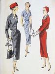1950s CLASSY BLOUSED BACK SHEATH DRESS PATTERN DEEP V NECKLINE ADVANCE 8200