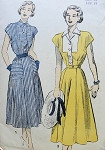 1950s  DRESS PATTERN TAILOR COLLAR or BOW TIE NECKLINE FLATTERING SKIRT ADVANCE 4893