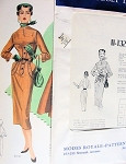 1950s PEG TOP SKIRTED SLIM DRESS PATTERN STUNNING DETAILS MODES ROYALE PATTERNS 132