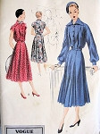 1950s Beautiful Day or After 5 Dress Pattern VOGUE SPECIAL DESIGN 4080 Flattering Inverted Pleat Dress  Lovely Full or Cap Sleeves  Bust 34 Vintage Sewing Pattern
