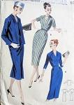 1950s SLIM DRESS, JACKET PATTERN FLATTERING V NECKLINE BUTTERICK PATTERNS 7936
